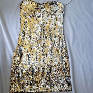 Gold and Silver Mini sequin dress